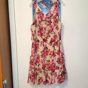 Cato Cream Rosey Ruffled Dress